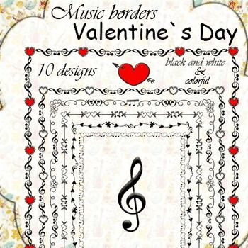 Valentine`s Day Music Borders Music border
