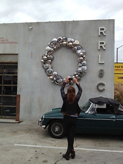 Hubcap Car Parts Wreath This Is Perfect For My Car Wash Car Parts Decor Car Part Art Old Sewing Machines