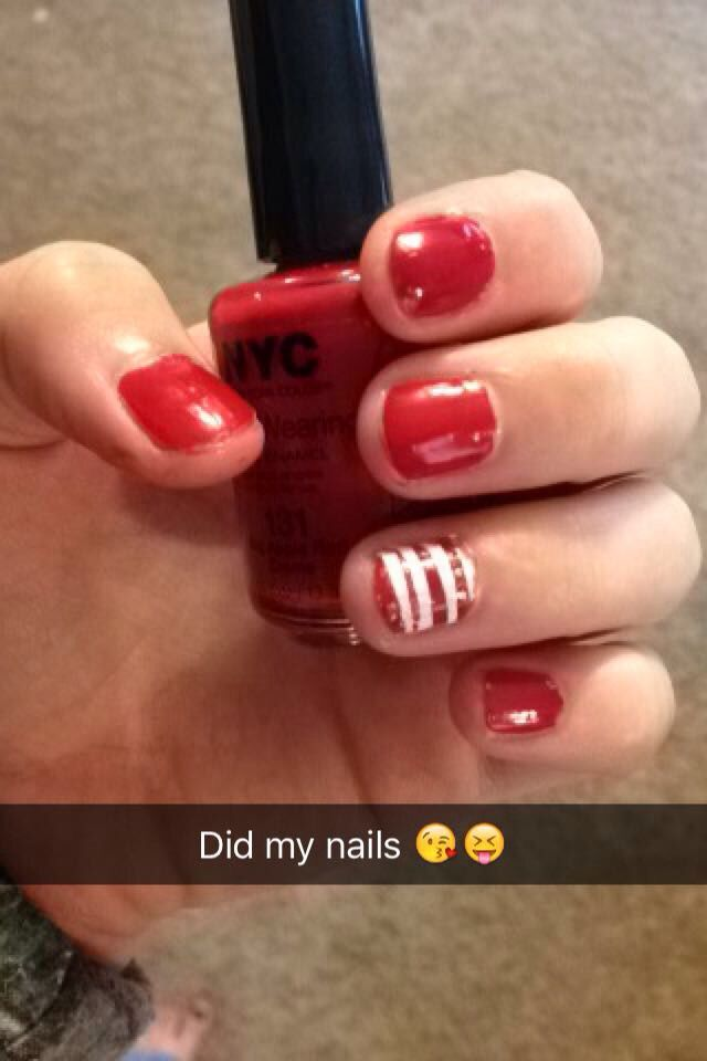 So I did my nails Christmas style and it worked with little pieces of tape this is how mine turned out!