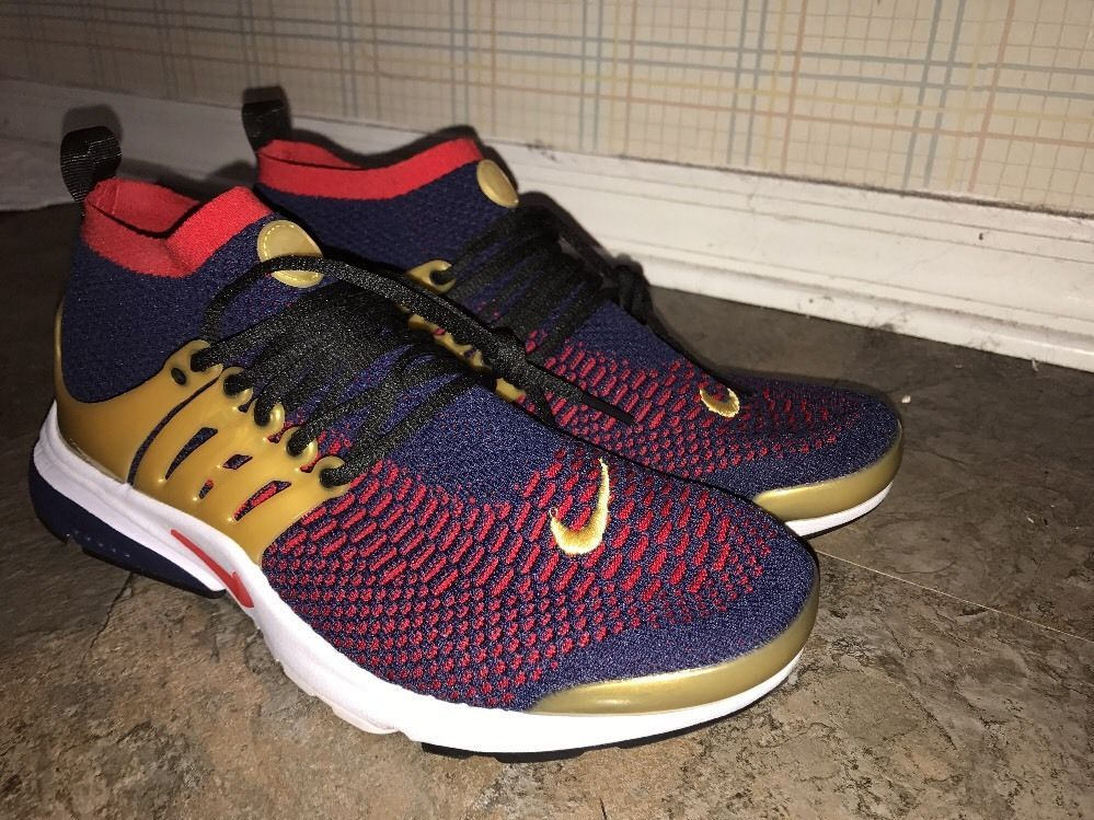 Mens Nike Air Presto Flyknit Ultra USA Olympic Navy Gold Red Sz 11 SEE  DETAILS