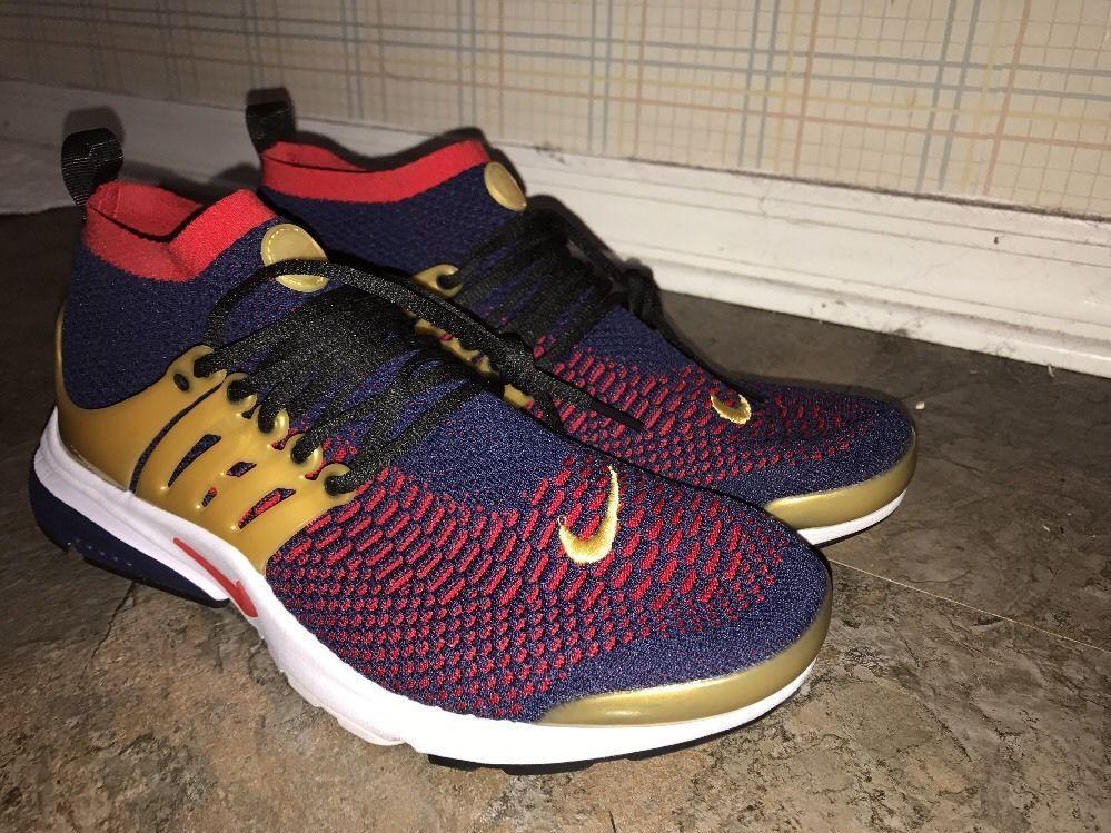 Hombres Nike Air Presto Flyknit Ultra Usa Olympic 11 Marina Oro Rojo Sz 11 Olympic 55e3e8