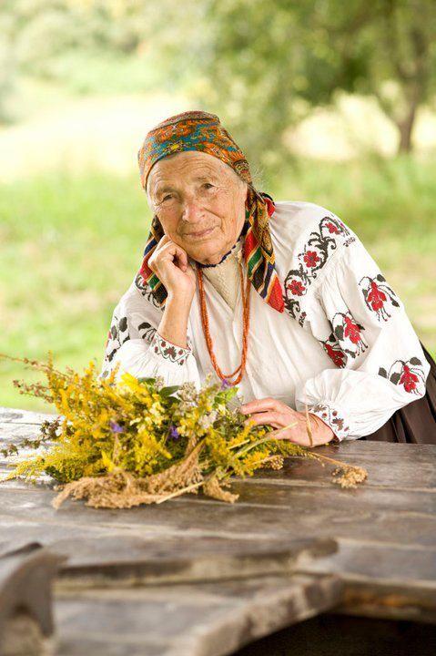 Baboshka with flowers, Ukraine