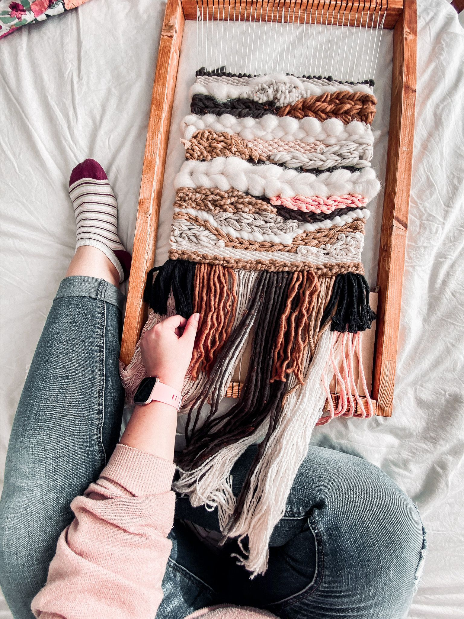 big weaving wall hanging bohemian style fiber art on hygge wall decor id=47927