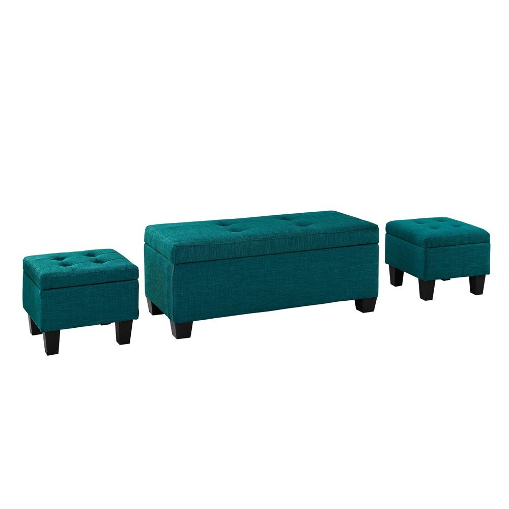Admirable Set Of 3 Everett Storage Ottoman Teal Blue Picket House Inzonedesignstudio Interior Chair Design Inzonedesignstudiocom
