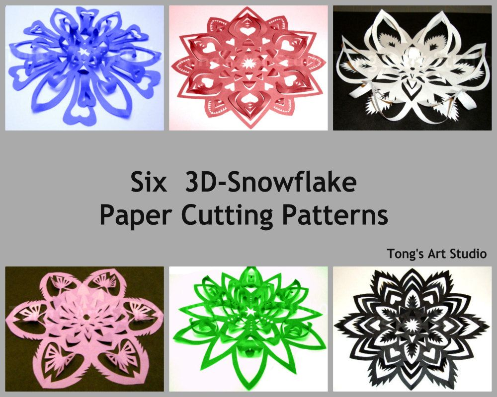 Six 3d Snowflake Paper Cutting Patterns 2 Different Sized Patterns