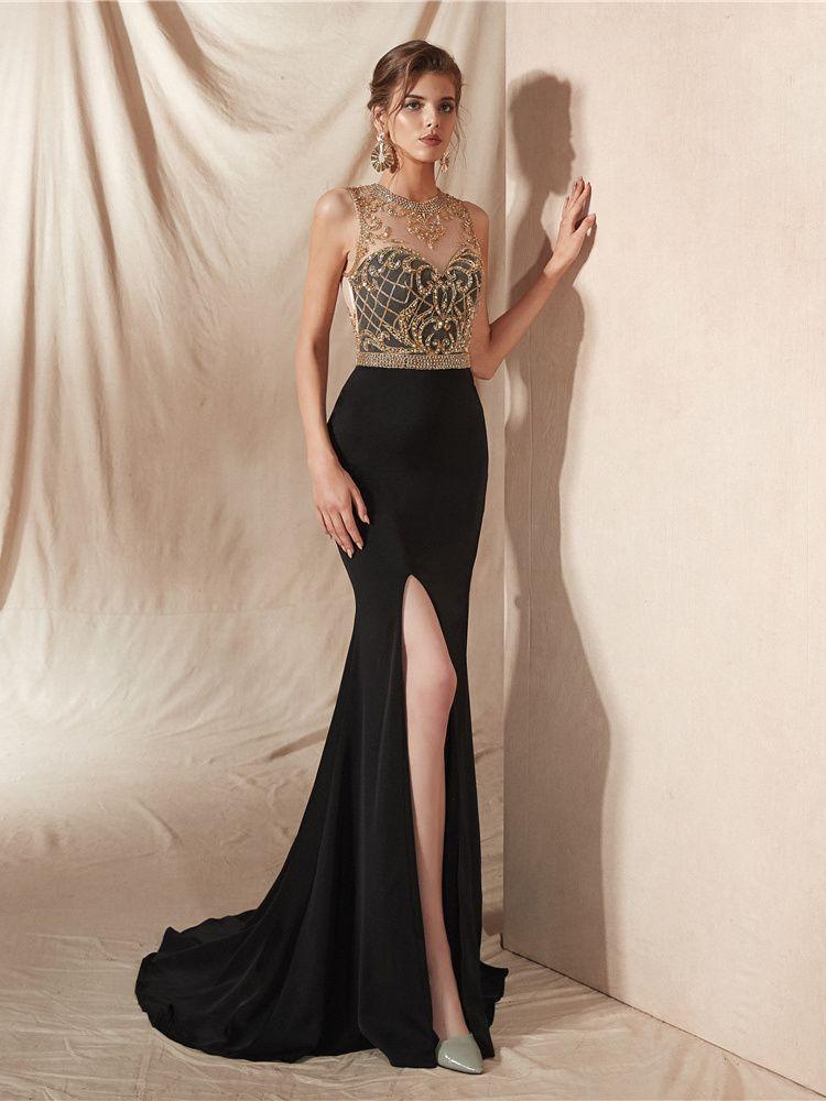 abendkleid meerjungfrau ballkleider lang schwarz satin