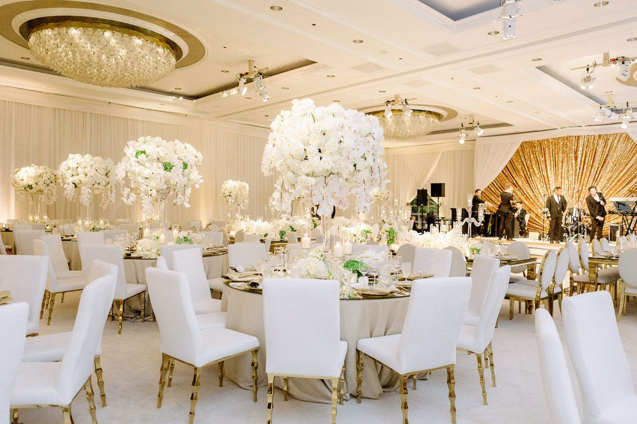 Real Wedding Photo At Four Seasons Los Angeles At Beverly Hills Wedding Reception Live Band In 2020 Wedding Inside White And Gold Decor Beverly Hills Wedding Reception