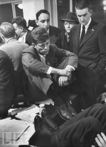 John F. Kennedy, running for Senate, awaits election results in November 1952.