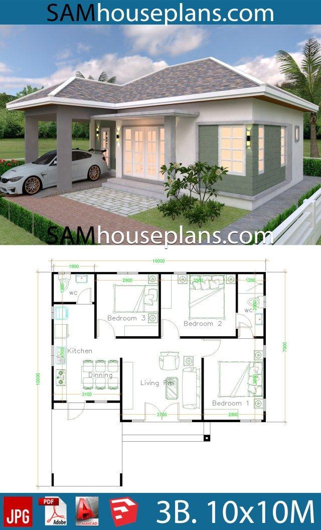 10x10 Bedroom Floor Plan: House Plans 10x10 With 3 Bedrooms In 2019