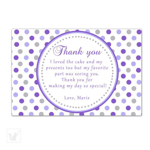 Printable Personalized Purple Grey Polka Dots Party Thank You Card