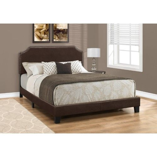Monarch Specialties Faux Leather with Nailhead Trim Platform Bed, Brown