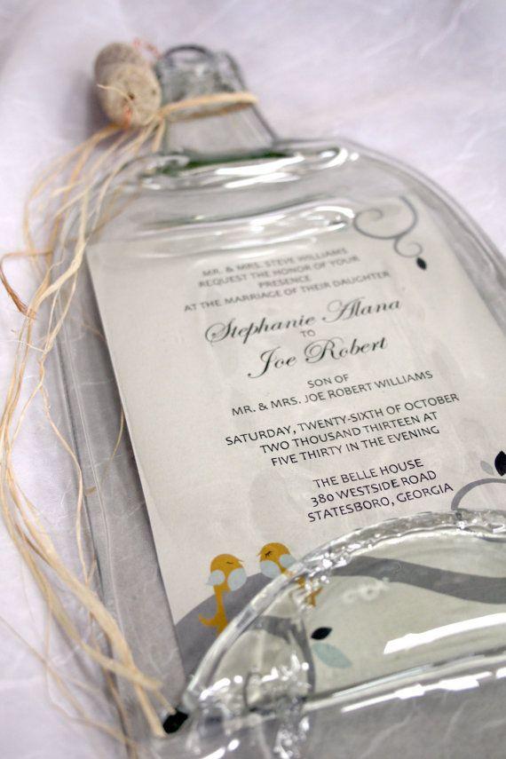 Wedding Invitation Keepsake..... OMG- I want!! https://www.etsy.com/listing/173794662/melted-wine-bottle-with-keepsake-wedding