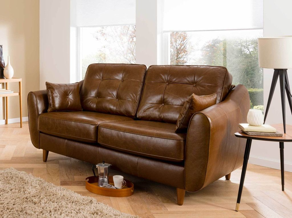 1 099 Rrp 1895 Daltrey Contemporary Retro Style 2 Seater Brown Vintage Leather Sofa Free Delivery