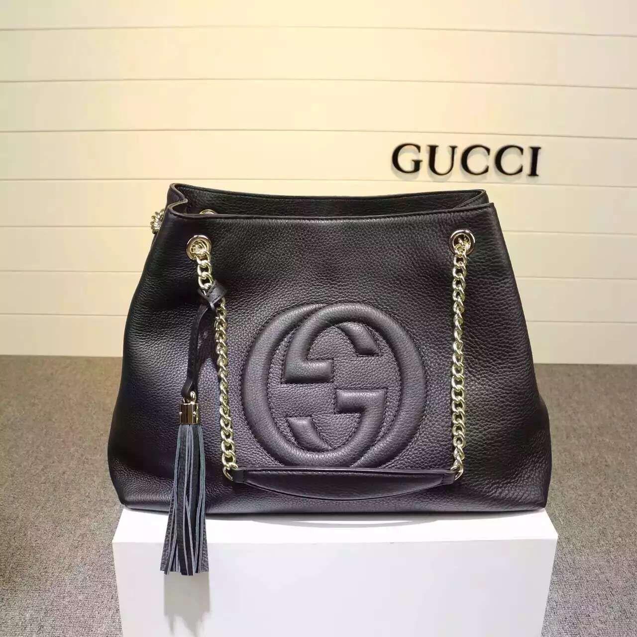 0e84f2fb1451 Gucci 308982 Medium Soho Calfskin Tote Bag Black