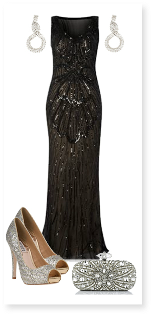 Black evening gown w/ silver heels and clutch | Dresses Galore ...
