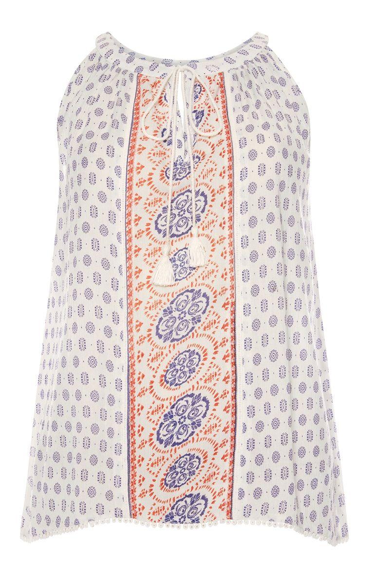 White apron edinburgh - Primark White Printed Apron Top