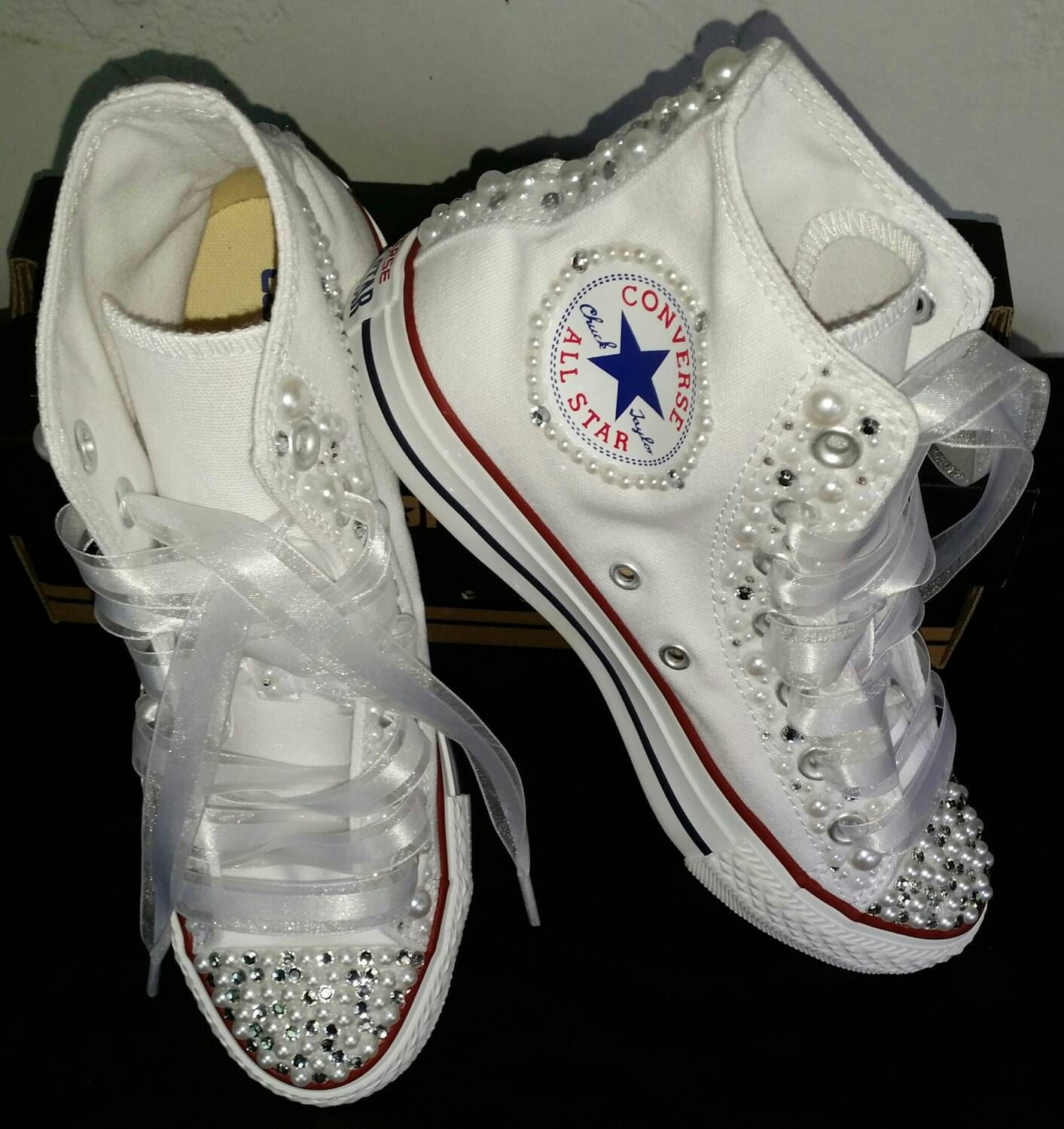 Bridal Custom Converse by DivineKidz on Etsy (With images