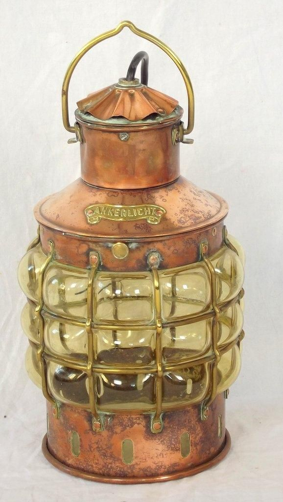 Antique Den Haan of Rotterdam Copper/Brass Ankerlight with Bubble Glass Lense.Early 1900s. Nautical hanging ankerline lamp/light. Height 12 inches.