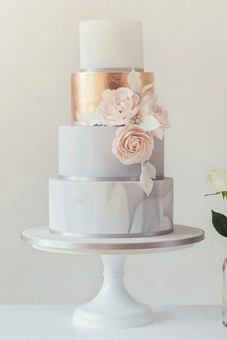 Gorgeous Marble Rose Gold Rose Wedding Cake Roses Wedding