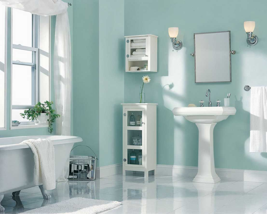 Light blue and white bathroom - Best Paint Color For Bathroom Using Light Blue Wall Paint Color With White Wash