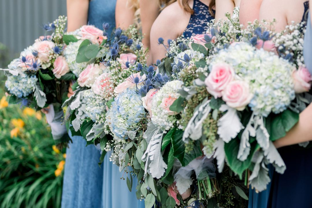 Pink And Blue Wedding Bouquet In 2020 Wedding Flower Inspiration Blue Wedding Bouquet Diy Wedding Bouquet