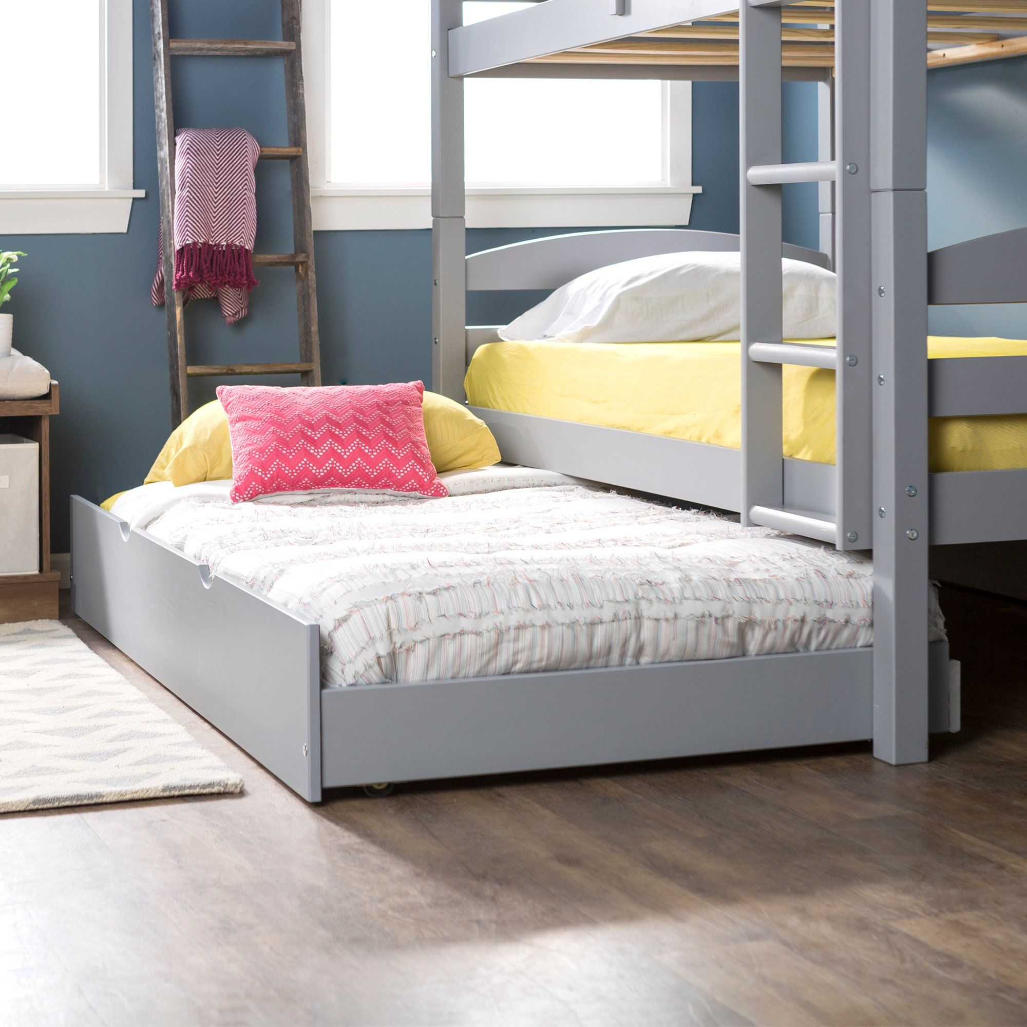 Contemporary Gray Twin Trundle Bed Trundle Bed Frame
