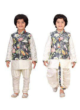eaeda9681 Cream N Dark Grey Kids Dhoti Kurta N Bandi Set Com