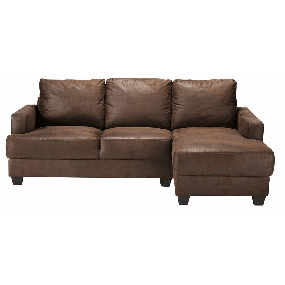 Canapé d\'angle droit 3/4 places en microsuède marron   Industrial ...