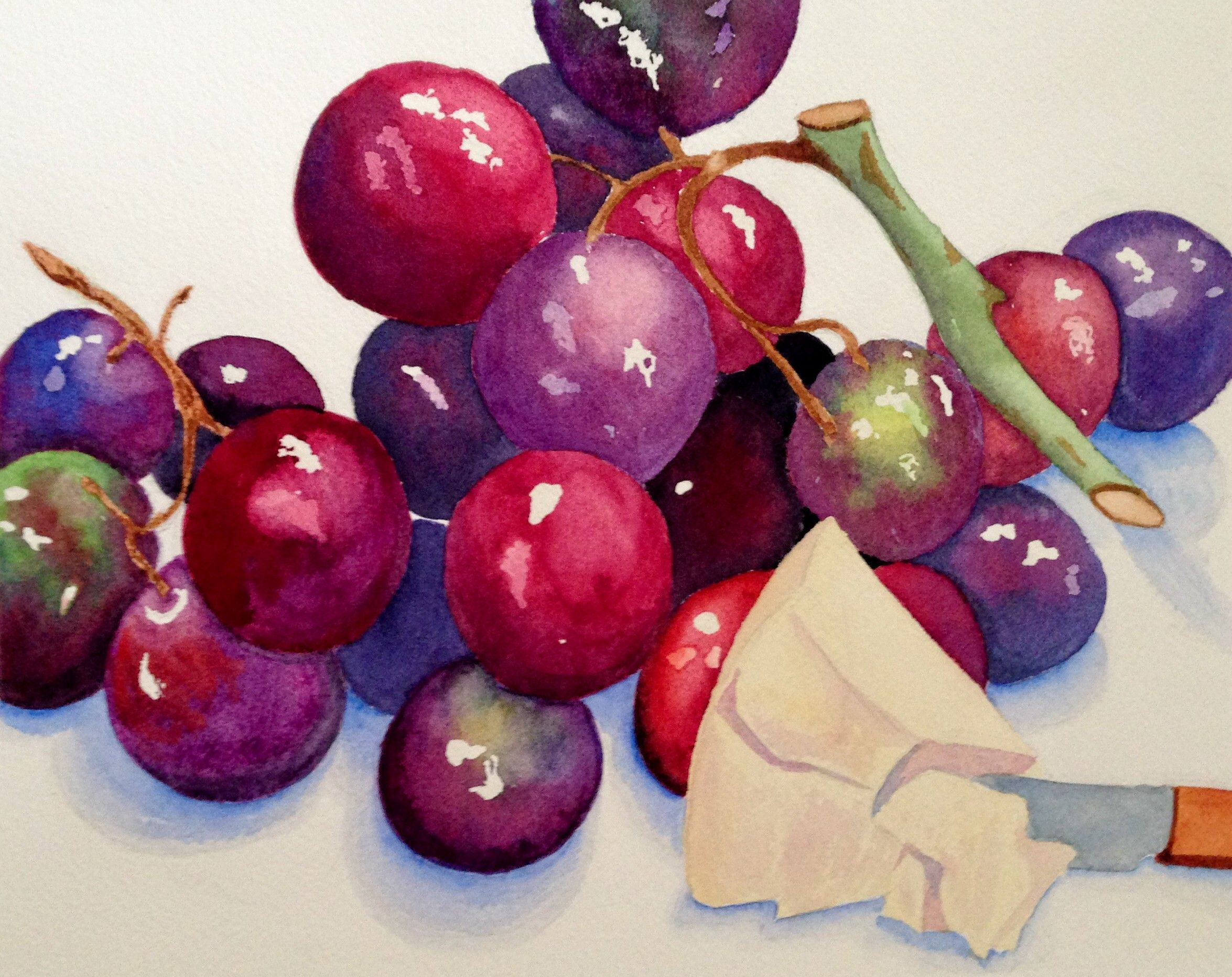 """""""Grapes and Cheese"""" (Watercolor) Grapes, cheese, Fruit"""