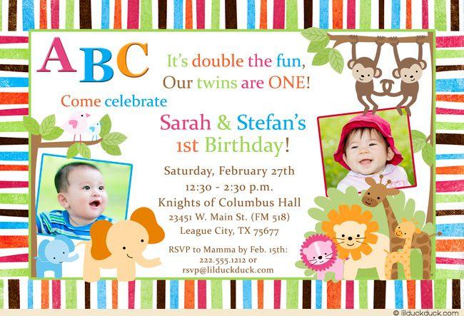 Jungle Safari Twin Birthday Invitation – Twin 1st Birthday Invitations