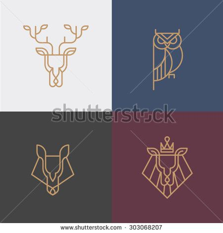 Linear hipster logo vector icon element - deer, owl, wolf, lion - stock…