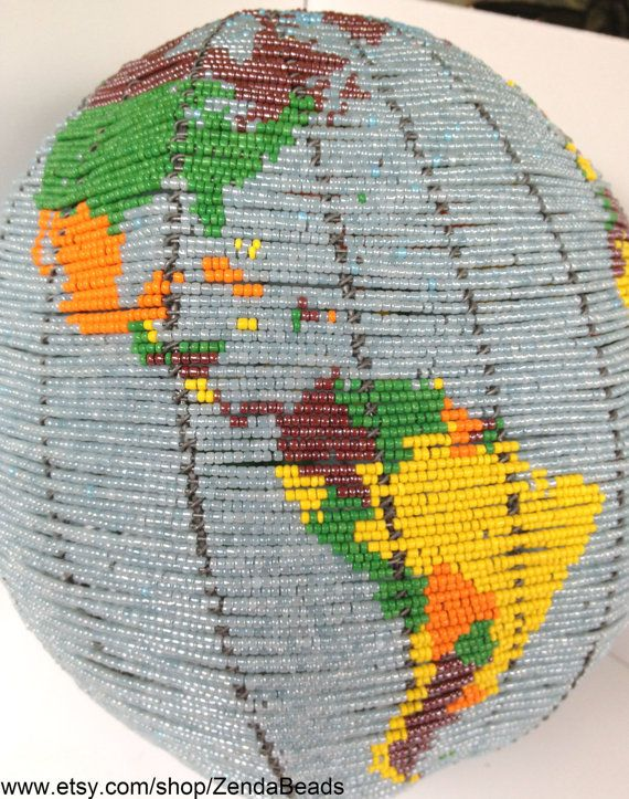 Beaded Wire Art Sculpture Mother Earth Globe by ZendaBeads