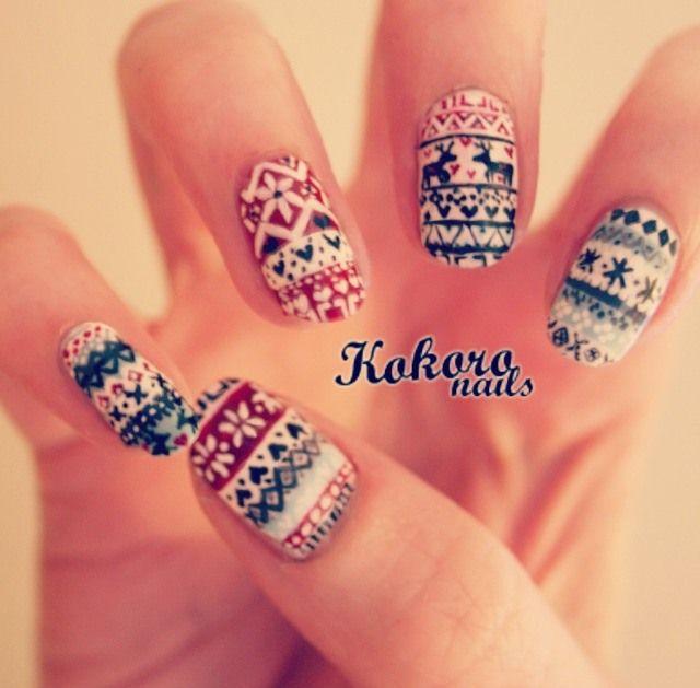 kokoro nails: FAIR ISLE NAIL ART : a nail art blog by a nail polish ...