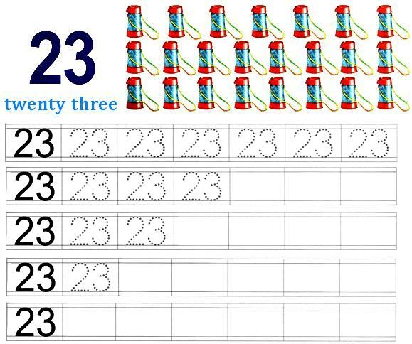 Worksheet on number 23 | Matematika Taman Kanak-kanak | Pinterest ...