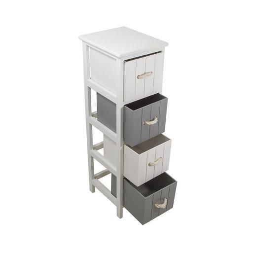 Meuble 4 paniers paulownia 25 x 29 x 86 cm blanc à découvrir dans le rayon accessoires salle de bain chez lafoirfouille fr ✓ plus de 220 magasins
