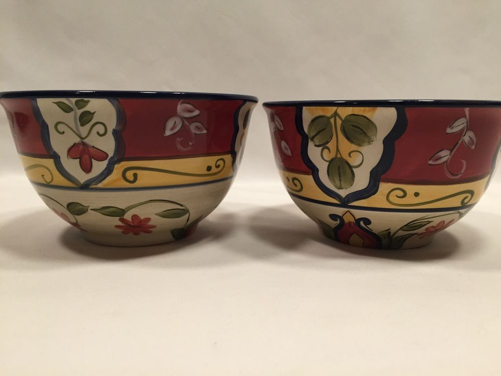 Pier 1 Vallarta Cereal Bowls Red Yellow Blue Floral 6″ Set of 2 #Pier1