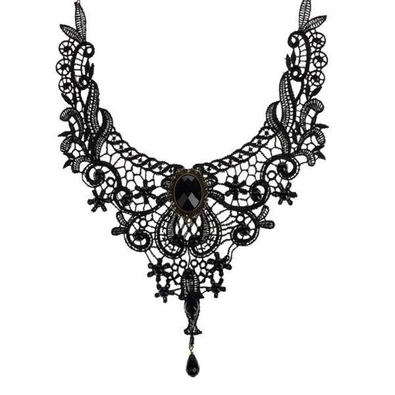 Vintage Gothic Black Flower Collier en dentelle Collier Retro Choker For