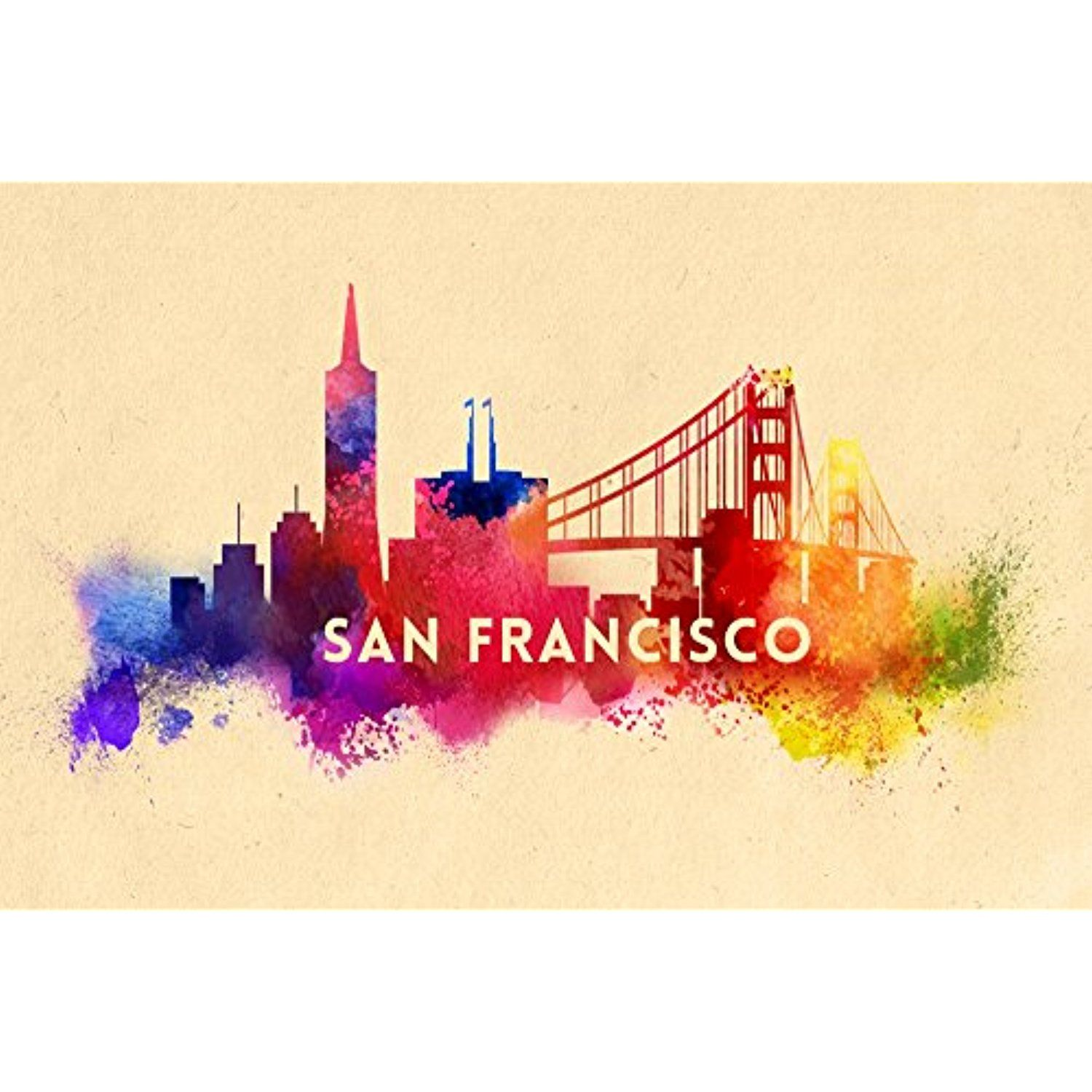 San Francisco, California - Skyline Abstract (12x18 SIGNED Print ...