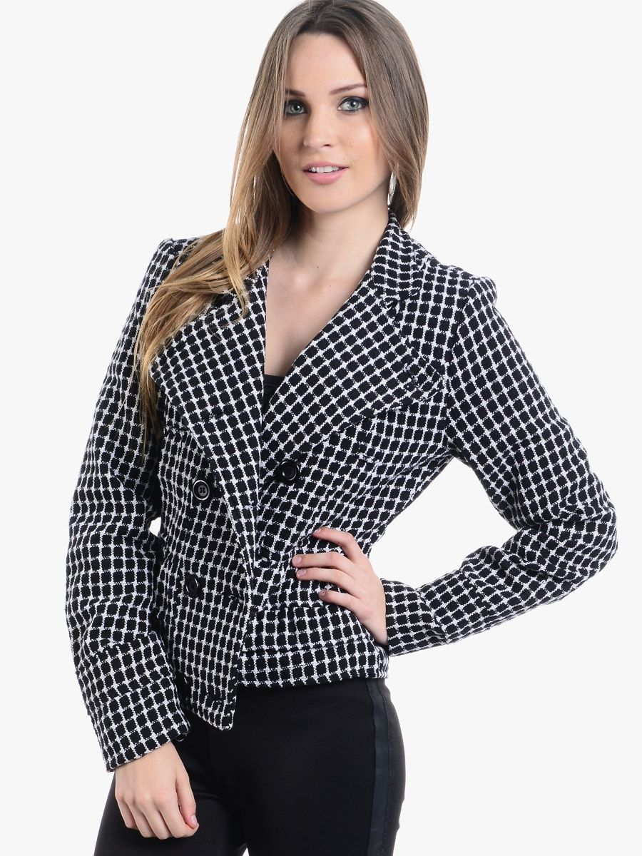 Black Square Down Double Breasted Tweed Coat $15.00