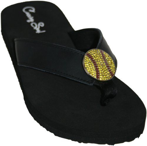 Cocomo Soul Leather Rhinestone Softball Flip Flops Womens -8458
