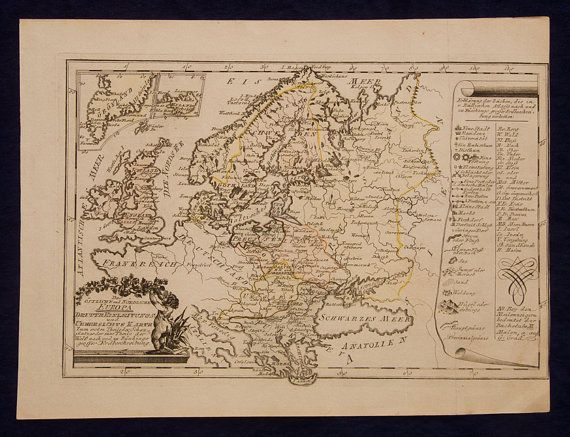 Map of Europe. Antique map. Vintage 1799 map. by MaureenMaceArt, £80.00