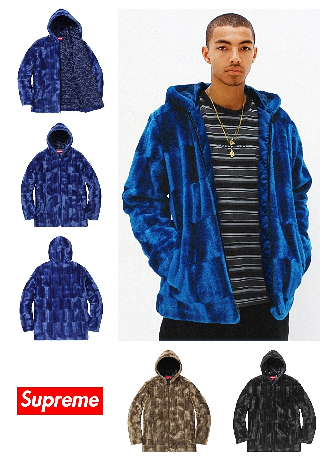 a95c2b350ce4 SUPREME Faux Fur Hooded Zip Jacket