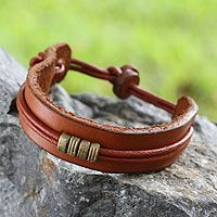 Mens leather wristband bracelet - Stand Together in Tan - NOVICA $22.95