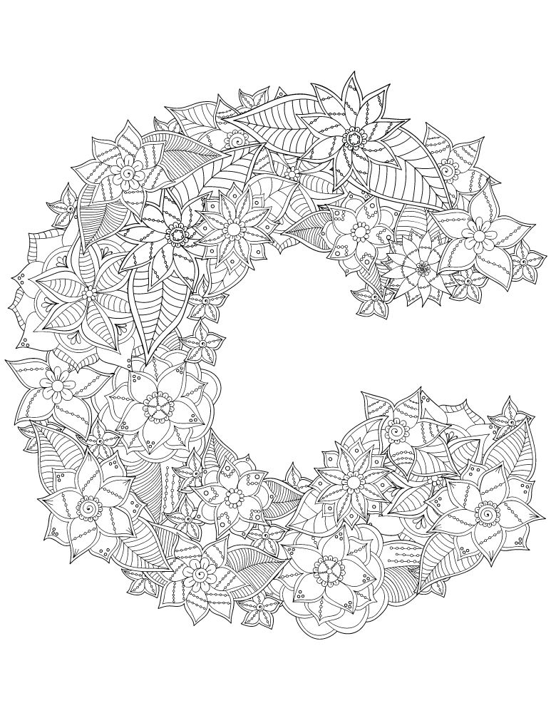 Alphabet coloriage lettre c imprimer coloring pages alphabet coloring pages floral - Colorier mandala ...