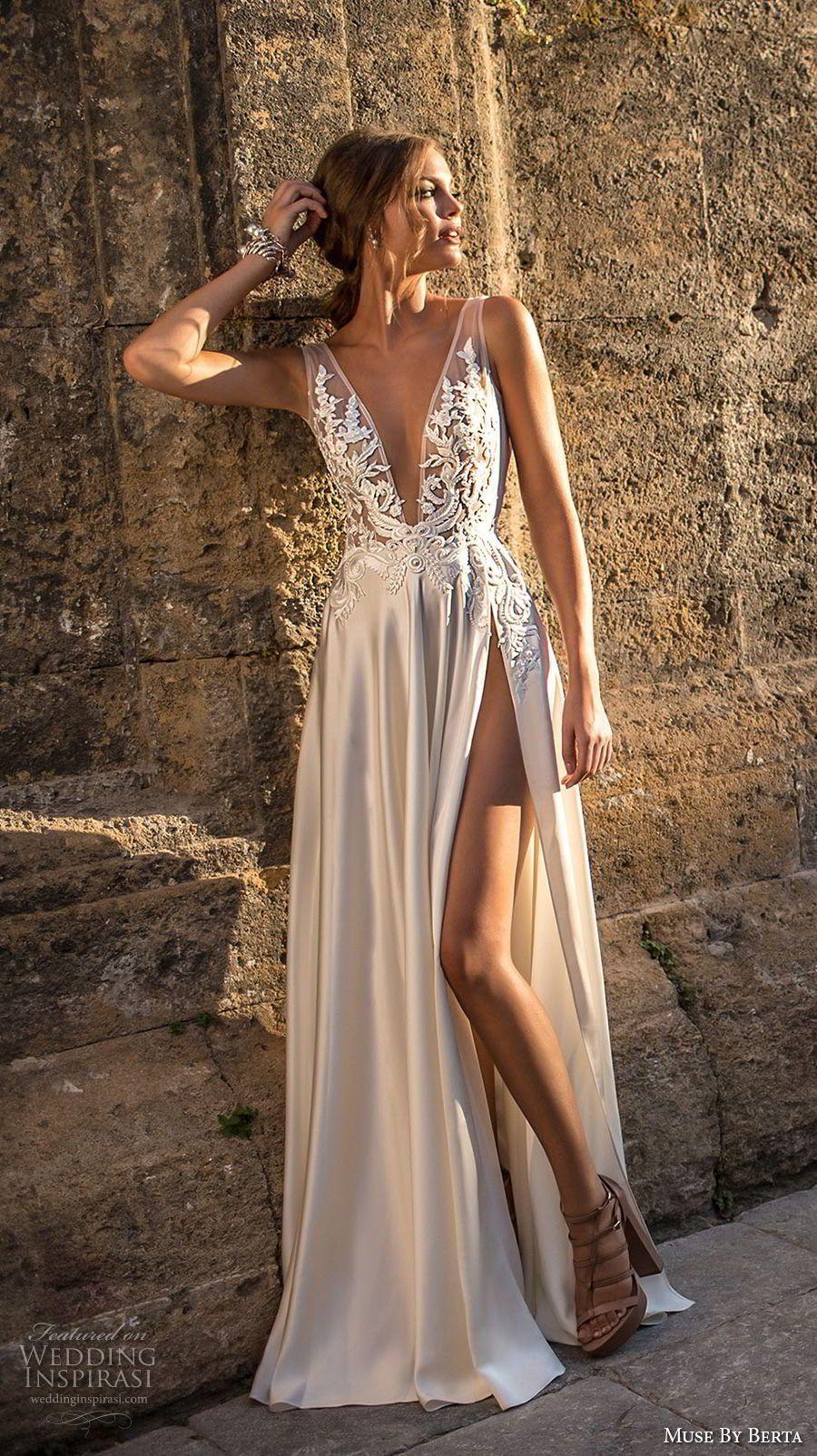 Muse berta bridal sleeveless deep v neck heavily embellished