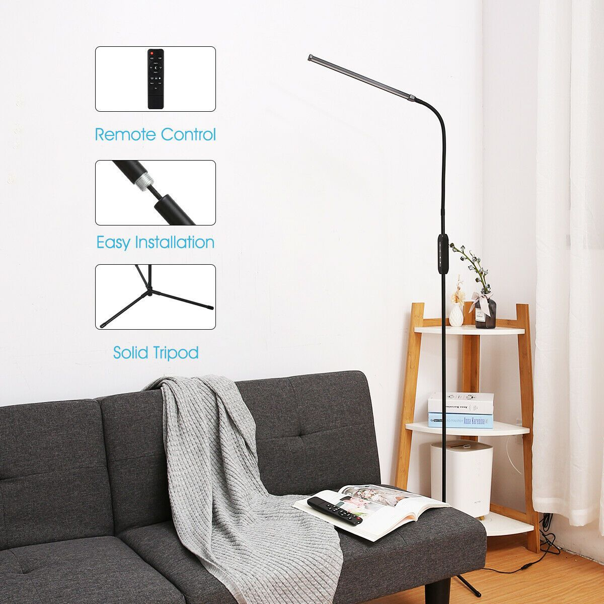 3 In 1 Ultra Slim Led Floor Lamp Dimmable Gooseneck Reading Light Study Bedroom Floor Lamps Ideas Of Reading Lamp Floor Led Floor Lamp Floor Lamp Bedroom #reading #lamps #living #room