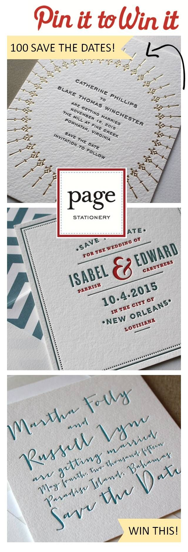 Win 100 Save the Dates from Page Stationery! Pin it to Win it! http://www.theperfectpalette.com/2012/11/sponsored-post-giveaway-page-stationery.html#