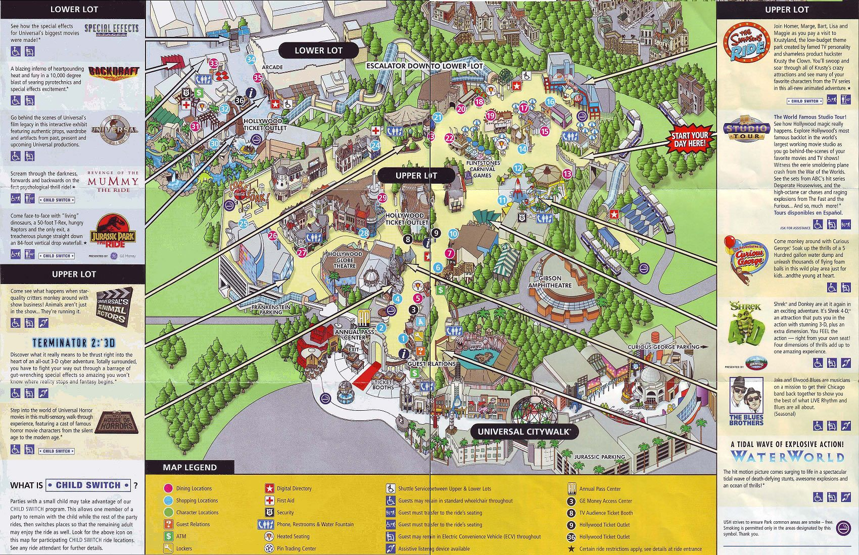 Universal Studios Hollywood 2009 Map – Tourist Map Of Hollywood
