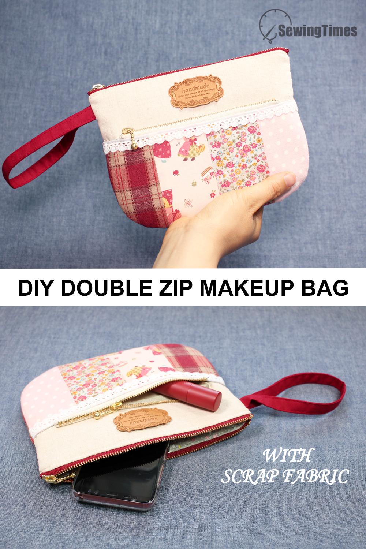 Diy Easy Makeup Bag With Scrap Fabric In 2020 Diy Fabric Pouches Easy Zipper Pouch Fabric Scraps
