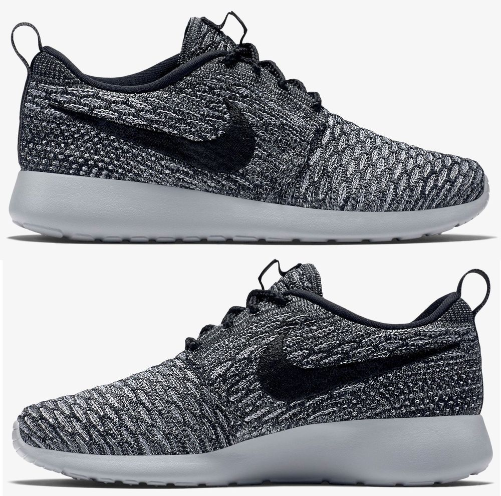 7a3e66d5de4af NIKE ROSHE ONE FLYKNIT CASUAL WOMEN s M RUNNING MESH COOL GREY - BLACK  AUTHENTIC  Nike  Running